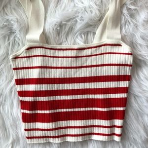 red and white stripped crop tank top